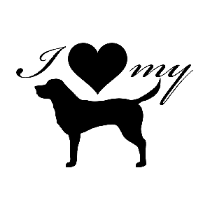 I Love My Labrador Dog Silhouette Heart Vinyl Sticker Car Decal